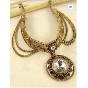 Etched Choker Crystal Round Pendant Goldtone NEW